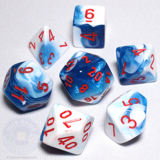 Astral Blue and White Gemini Dice Set - DnD Dice