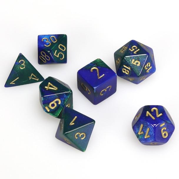 7-piece Gemini dice set - D&D dice - Blue and Green