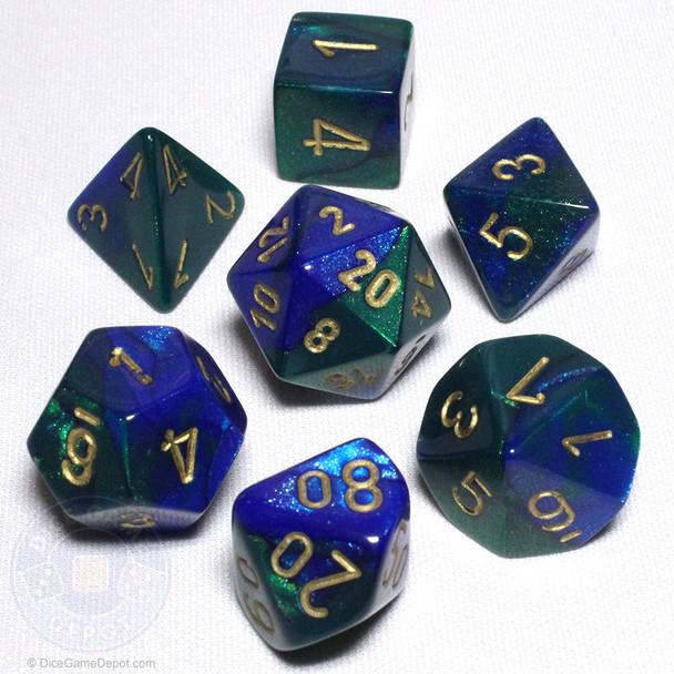 Blue and Green Gemini Dice Set - DnD dice