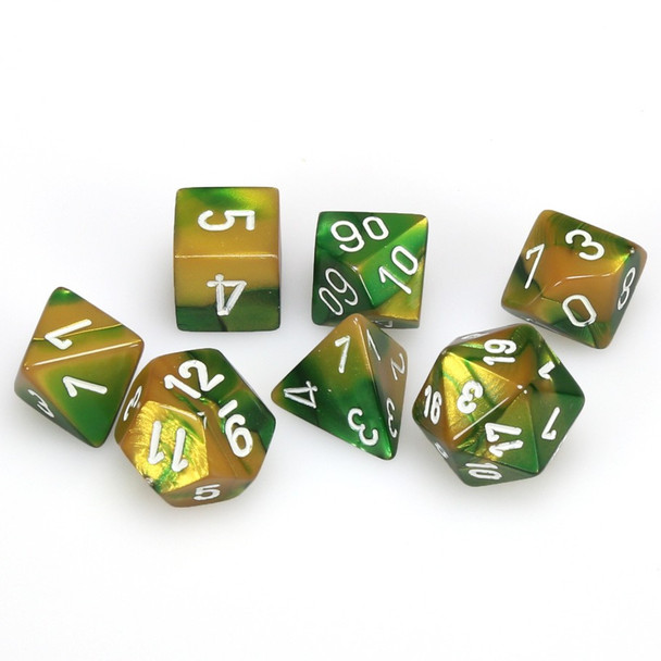 7-piece Gemini dice set - Gold and Green