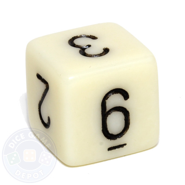 Ivory 6-sided numeral dice