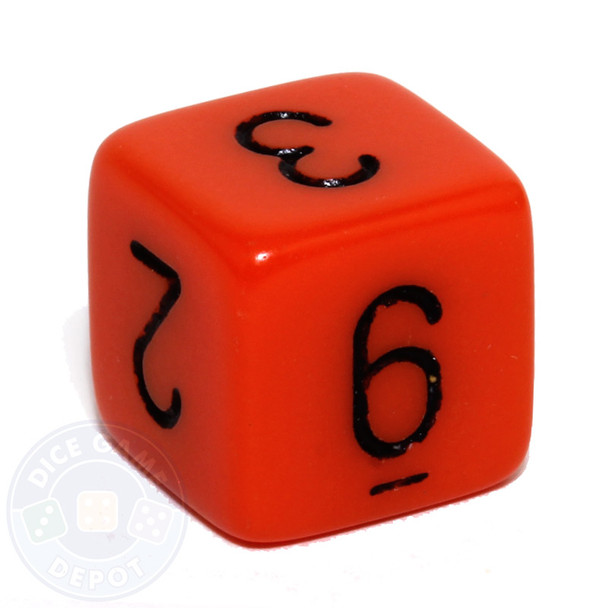 Orange 6-sided numeral dice