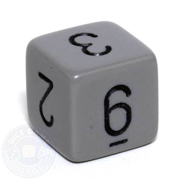 Gray 6-sided numeral dice