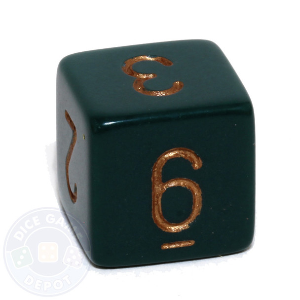 Dusty Green 6-sided numeral dice