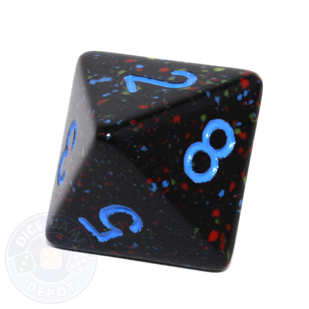 d8 - Speckled Blue Stars 8-sided Dice