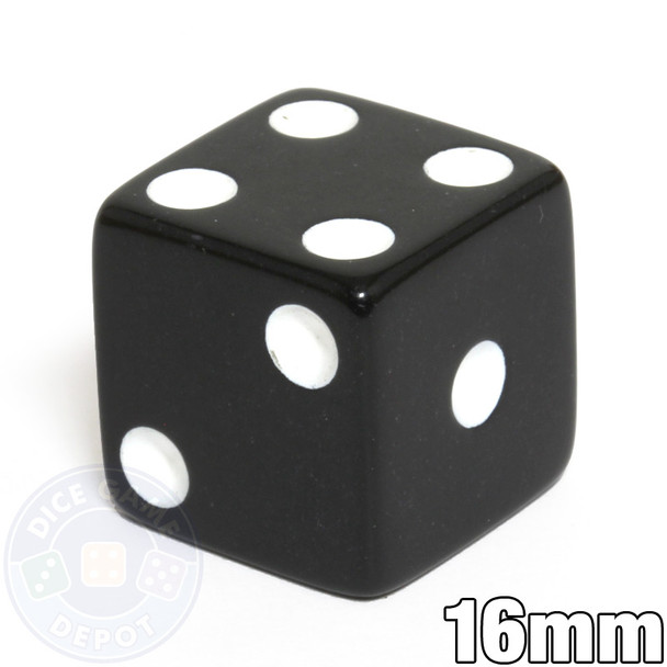 Opaque Dice - 16mm - Black