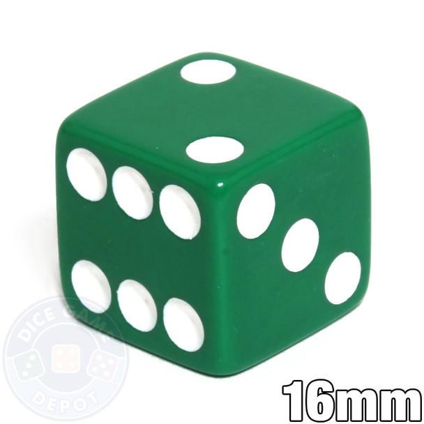 Opaque Dice - 16mm - Green