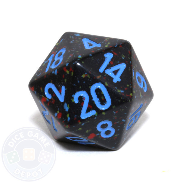 d20 - Speckled Blue Stars 20-sided Dice