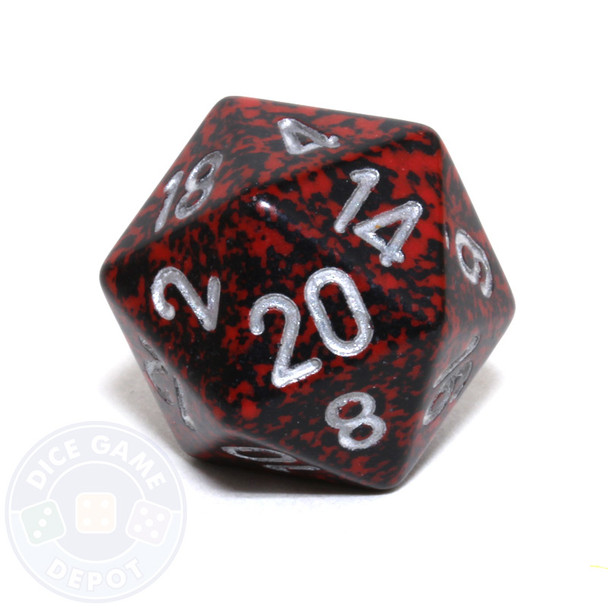 d20 - Speckled Silver Volcano 20-sided Dice