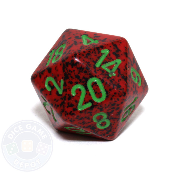 d20 - Speckled Strawberry 20-sided Dice