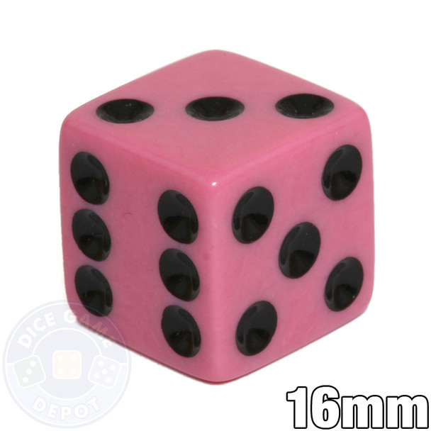 Opaque Dice - 16mm - Pink with Black
