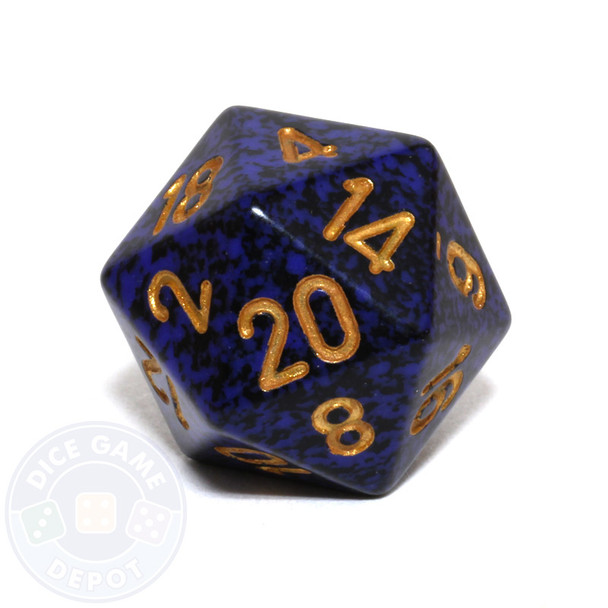 d20 - Speckled Golden Cobalt 20-sided Dice