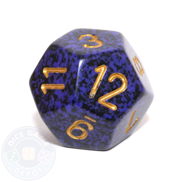d12 - Speckled Golden Cobalt 12-sided Dice