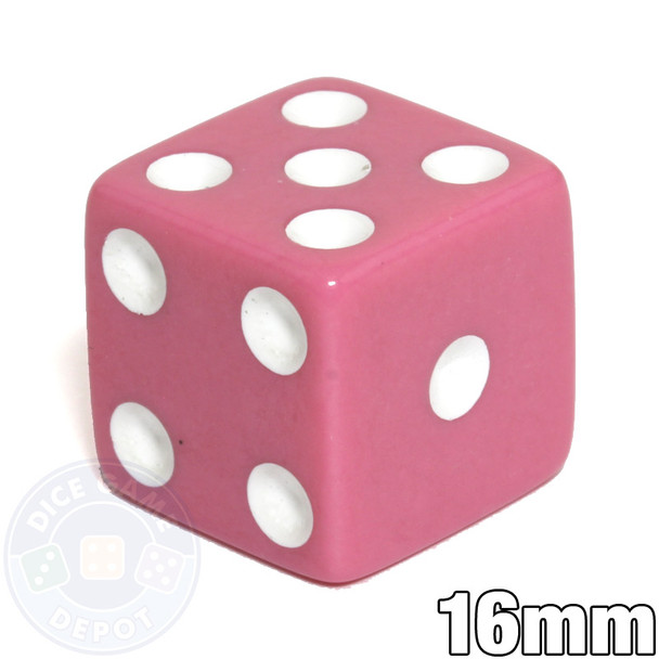 Opaque Dice - 16mm - Pink with White Spots