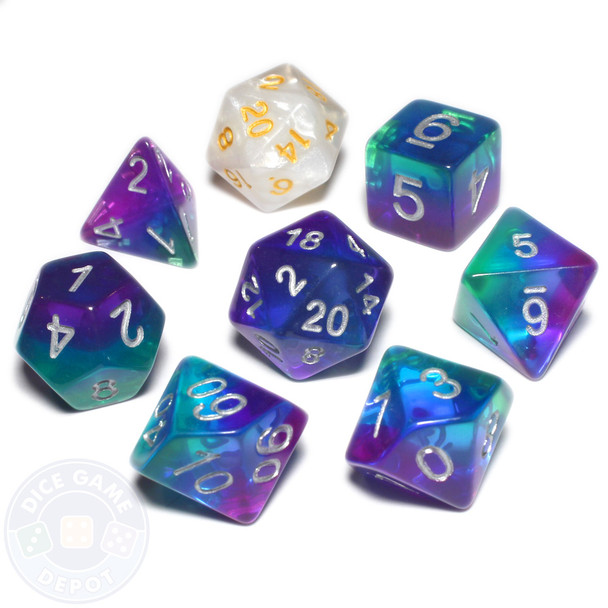 Blue Aurora dice set