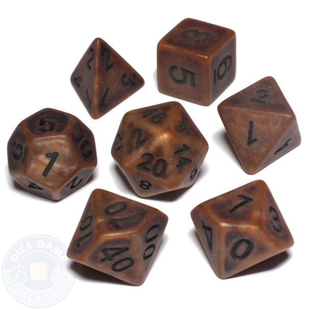 Ancient Copper 7-piece D&D dice set with black numbers