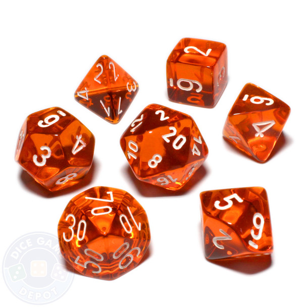 7-piece dice set - Transparent orange