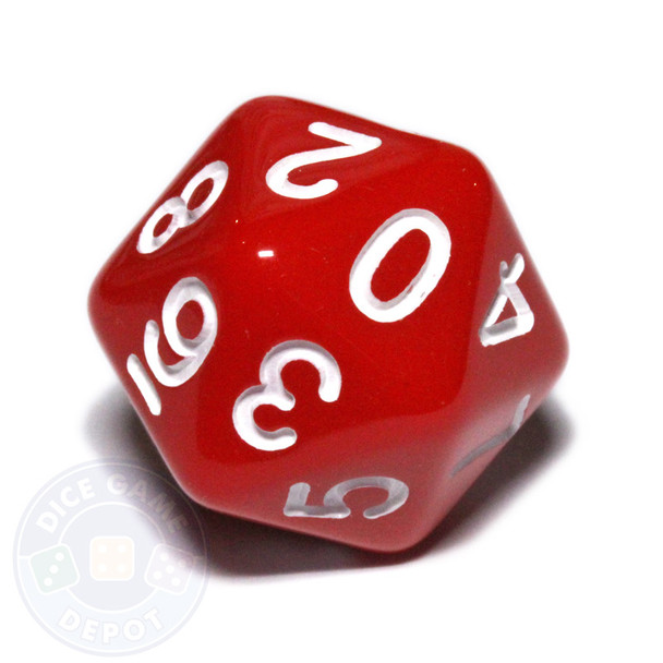 0-9 dice - 20-sided - Red