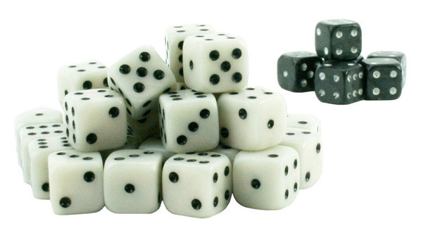 Wargame dice - White and black
