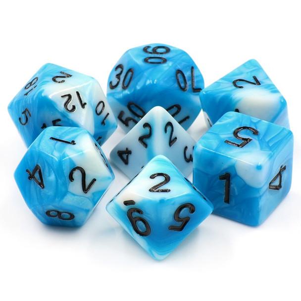 7-piece Fusion dice set - D&D dice - Freya's Frost