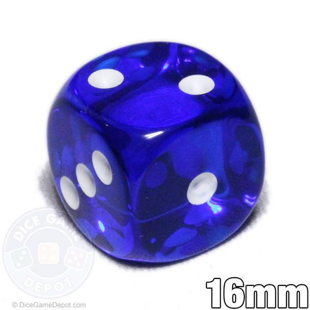 Transparent blue 6-sided dice