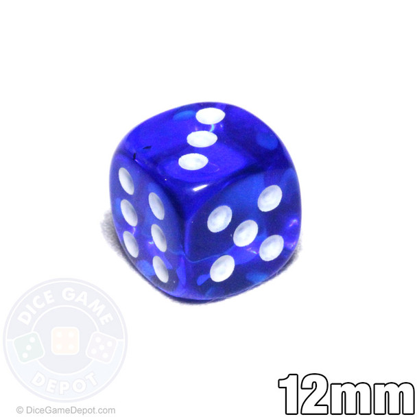 Transparent 12mm blue 6-sided dice