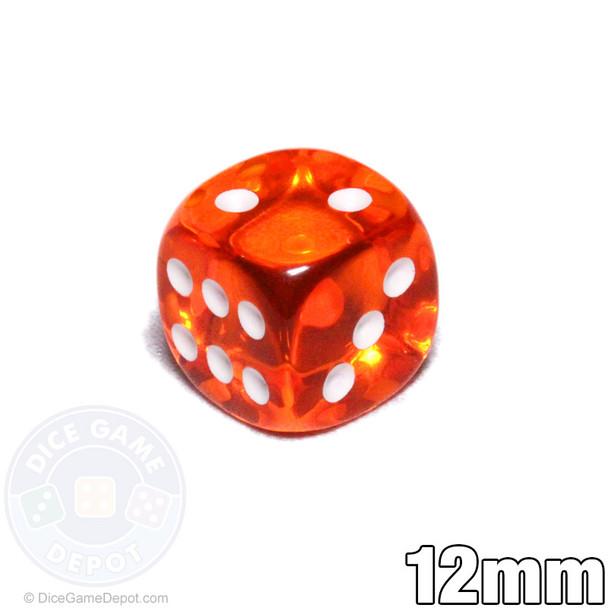 Transparent 12mm orange 6-sided dice