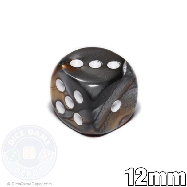 12mm leaf dice - Black and gold