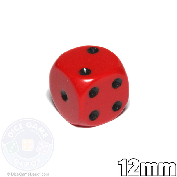 Red opaque round-corner dice with black spots - 12mm