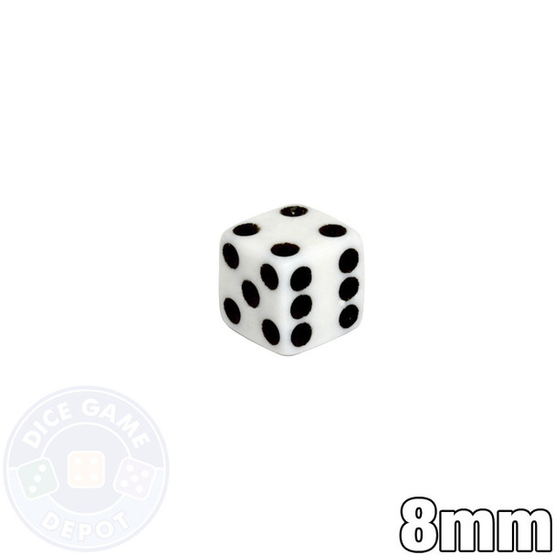 8mm Opaque White Dice