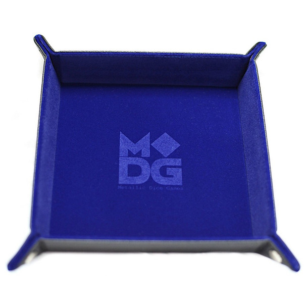 Folding Dice Tray - Blue Velvet with Leather Backing