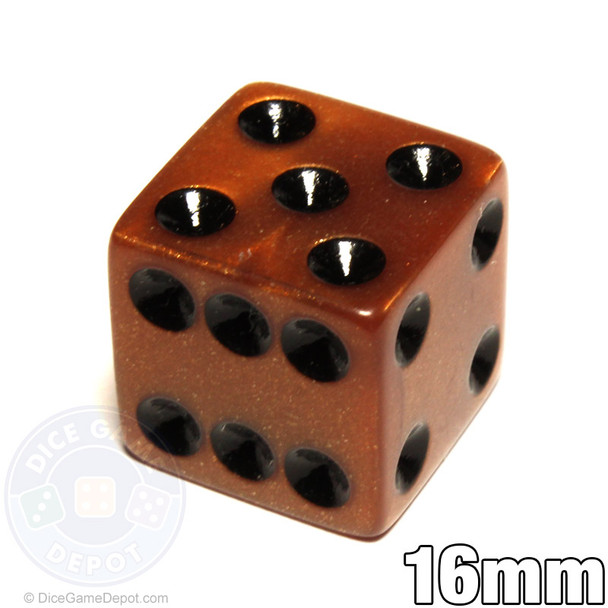 Bronze-colored olympic pearlized dice