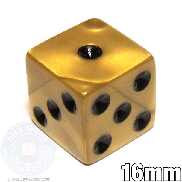 Gold-colored olympic pearlized dice