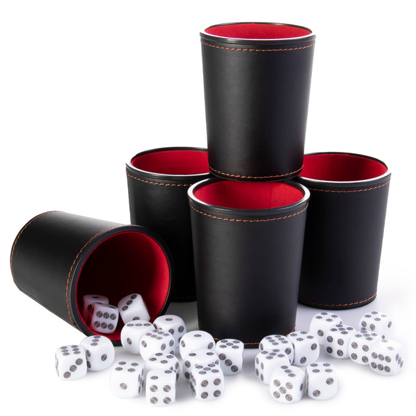 Bullseye Game Night - 25 Dice and 5 Dice Cups - Black/Red