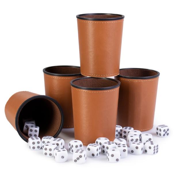 Bullseye Game Night - 25 Dice and 5 Dice Cups - Brown