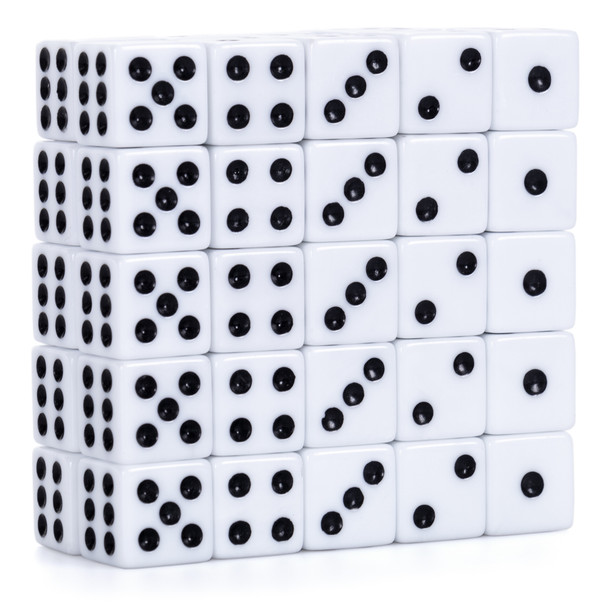 Pack of 50 16mm white opaque dice from Brybelly