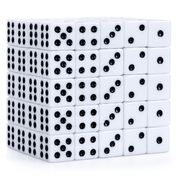 Pack of 100 16mm opaque white dice