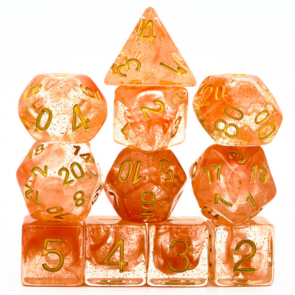 Astral Vapor dice set - Orange - D&D dice