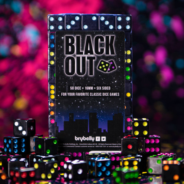 /& Math Blackout Dice Extra Board Game Accessories 16 mm Bulk Six-Sided Square Piece Set with Colorful Neon Pips Teaching 50-Pack Replacement Gaming Supplies