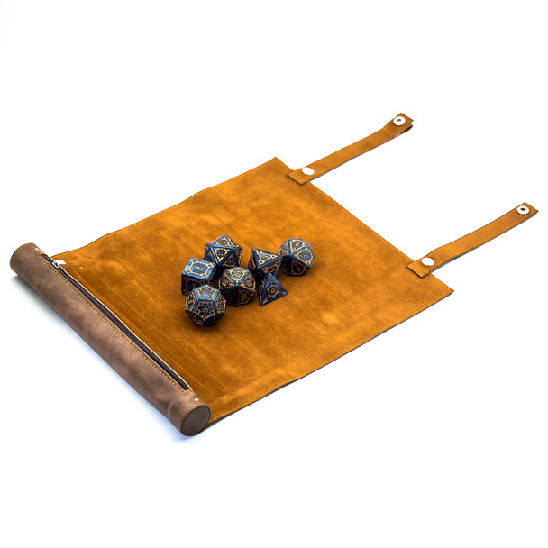 Leather dice mat - Roll Scroll