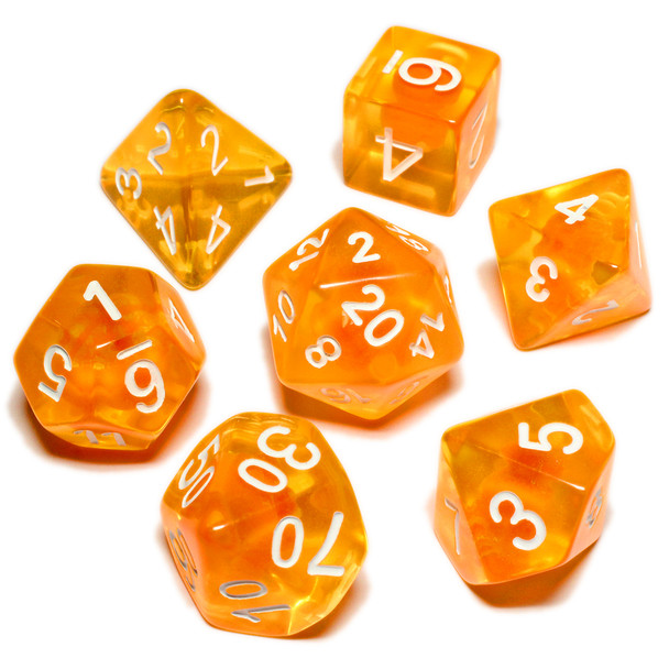 Orange Zest dice set - Polyhedral D&D dice