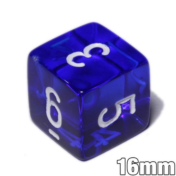 d6 - Transparent Blue numeral dice