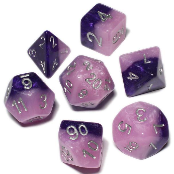 Halfsies polyhedral dice set - D&D dice - Princess