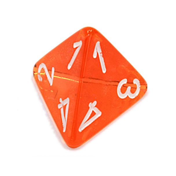 d4 - Transparent orange 4-sided dice