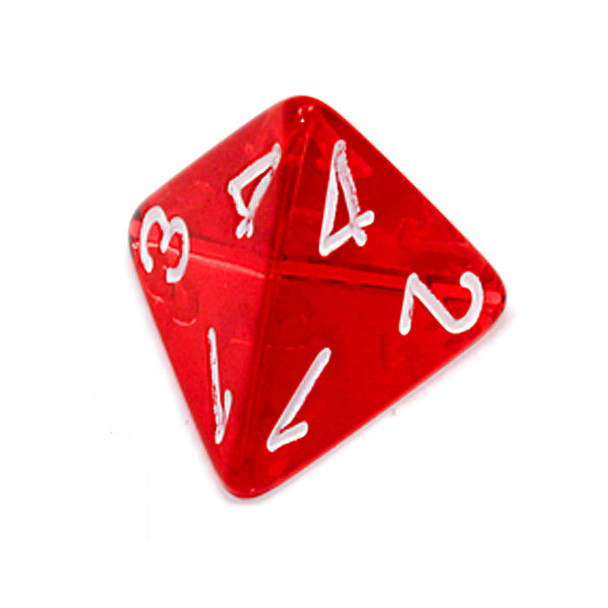 d4 - Transparent red 4-sided dice
