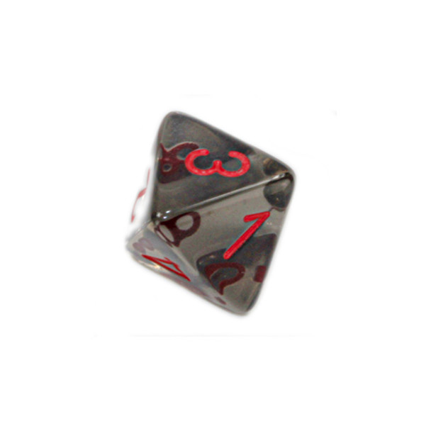 8-Sided Transparent Dice (d8) - Smoke with Red