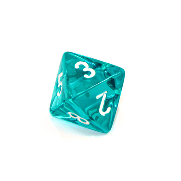 d8 - Transparent teal 8-sided dice