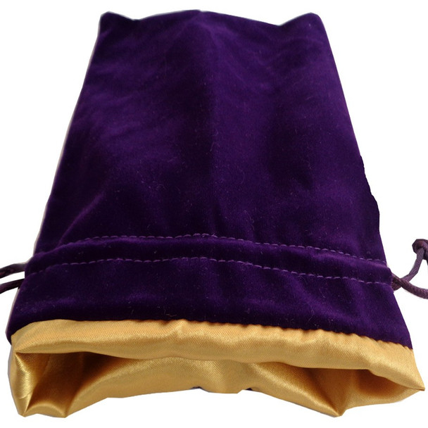Purple dice bag with gold satin lining