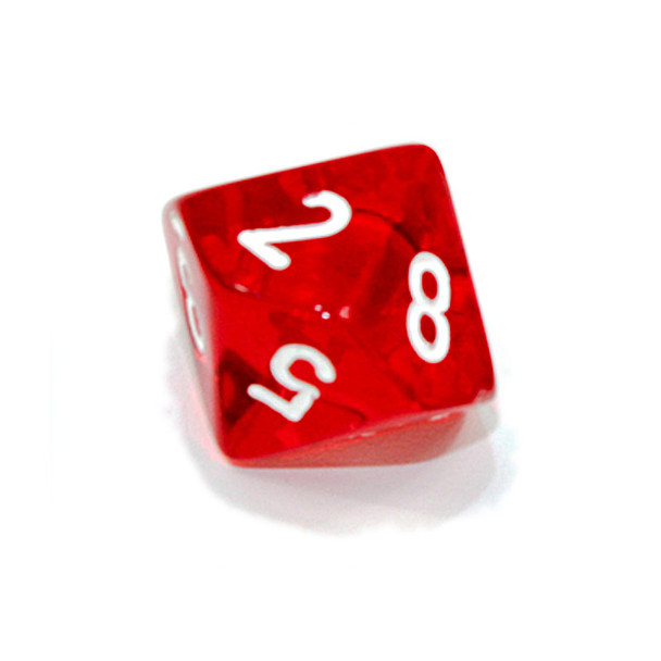 d10 - Transparent red 10-sided dice