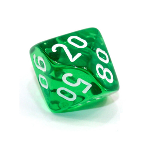 d10 - Transparent green 10-sided tens dice